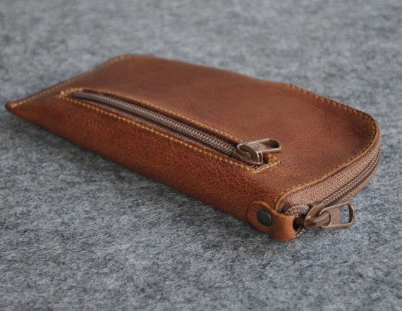 Brown Leather Case for iPhone, 12 mini SE (2020) 8 7 6 5, Sleeve with Zipper and Pocket, Purse Cover, Organizer Pencil Pouch
