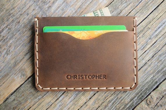 PERSONALIZED Credit Card, Brown Leather Wallet, Cash and Banknote Holder, Rustic Style Pouch