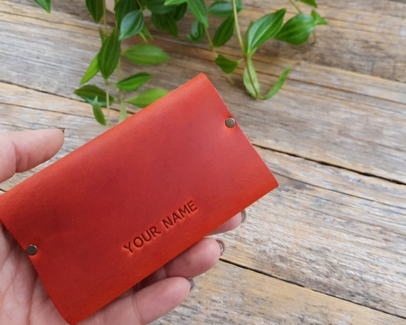 Red Leather Rivets Wallet Credit Card Holder Pockets for Cash or ID Urban Style Unisex Pouch. Monogram your name or Word. Personalized Gift.