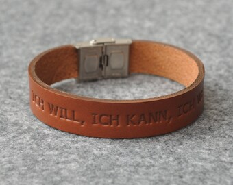 Italian brown leather personalized bracelet, vegetable tanned, engrave phrase, initials or word
