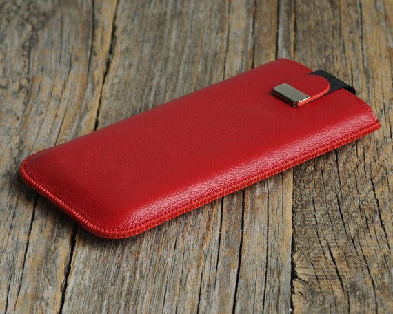 Red Genuine Leather Case for iPhone XR. Cover Shell with Magnetic Pull Band Slip Protective Pouch. Gift for Boyfriend Girlfriend.