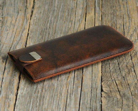 Dark Brown Leather Case for iPhone 8 7 6 Cover, Sleeve with Pull Band Magnetic Closure. Slip Genuine Protective Lined Soft