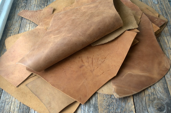 Crazy Horse Leather Pieces, 1,8 kg Bag Of Scrap. Calf Hide Leather Sheets for Arts and Crafts. 2,0 mm - 2.2mm thick. Leather scraps