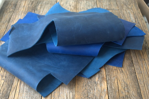 Calf Hide Blue Leather Pieces, 1,8 kg Bag Of Scrap. Crazy Horse Leather Sheets for Arts and Crafts. 2,0 mm - 2.2mm thick.