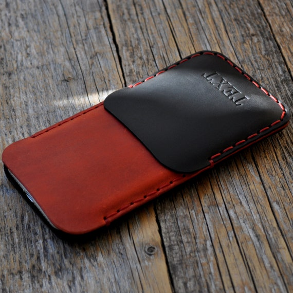 Beautiful Black and Red Leather Sleeve, Case for Google Pixel, 4 XL 4 3a 3, Wallet with Pocket, Custom Sizes, Personalized
