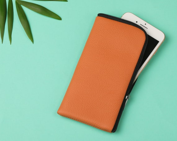 Case With Zipper for Honor View30 Pro 9X 20 Pro 9 Lite 8X 8C 7S 7C View20 10 Play Orange Italian Leather Cover Sleeve Pouch.