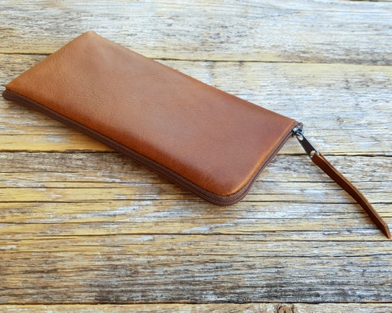 Italian Leather Cover for Sony Xperia 5 1 10 Plus 10 L3 L2 XZ3 XZ2. Soft Lined Pouch with Zipper. Brown Case Sleeve Wallet.