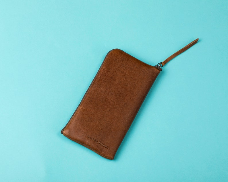 Brown Italian Leather Case for iPhone Free Personalisation Wallet with Zipper