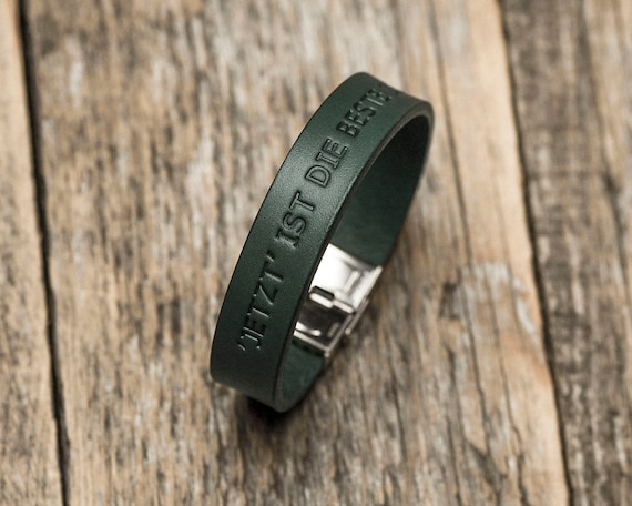 Italian green leather personalized bracelet, vegetable tanned, engrave phrase, initials, custom name, text or word
