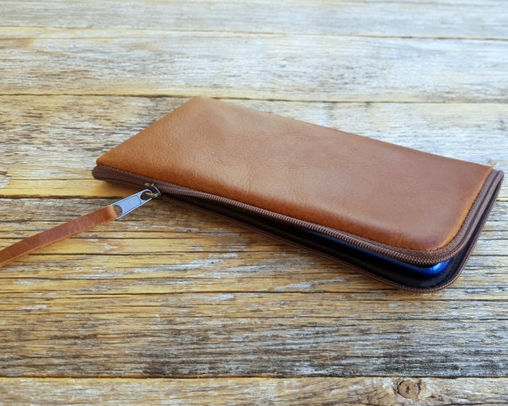 Brown Case for Google Pixel 3a XL 3 2XL Mini Bag Cover with Zipper. Italian Leather Purse Wallet.