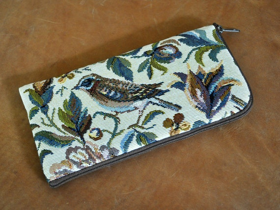 Case for Samsung Galaxy, Bird Print Upholstery Fabric, M31 M21 S20 Ultra 10 Lite + S10 A01 A90 A80 A70 A71 A51, Sleeve Purse with Zipper