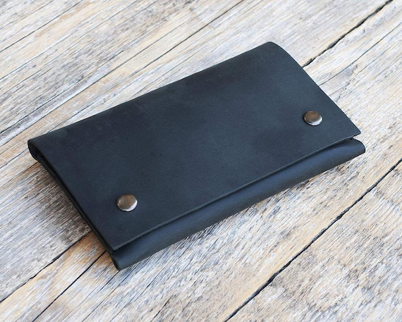 Black Leather Case for Samsung Galaxy, Hand Stitched Pouch Cover with Belt Loop, Wallet Credit Card Pocket