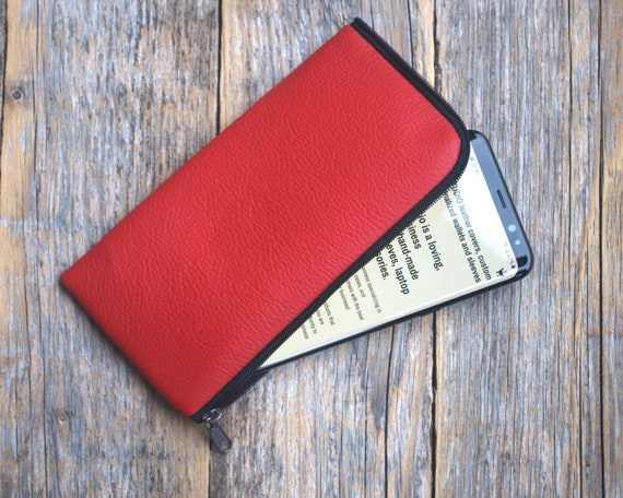 Red Leather Case for Samsung Galaxy,  Pouch Cover, Purse Zip Fastener