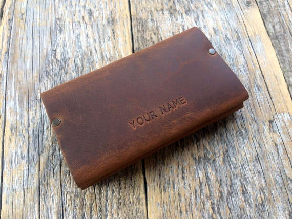 Brown Leather Riveted Wallet, Credit Card Holder with Pockets for Cash or ID,  Personalised Unisex Pouch.