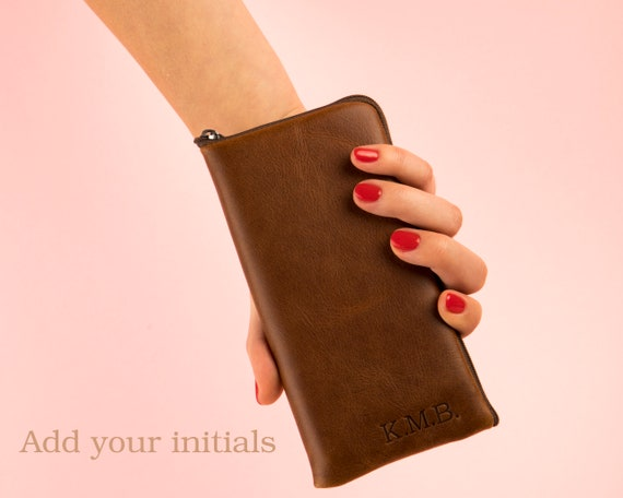 Italian Leather Pouch for iPhone 11 Pro Max XR X 8 Plus 7 6 SE Cover Case. Personalised Wallet with Zipper Brown Purse, Sleeve.