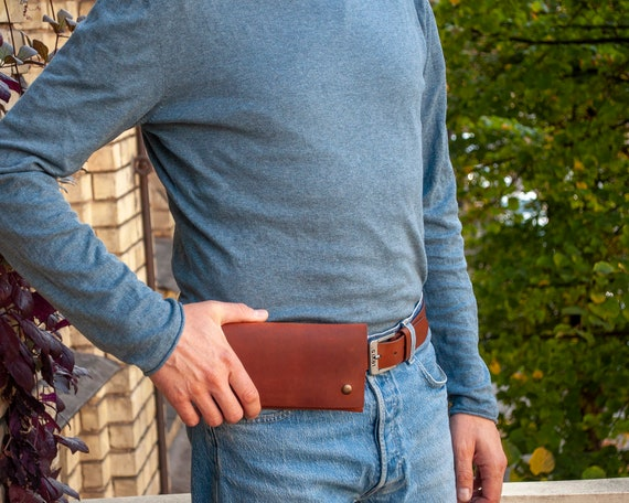 Hand Stitched Leather Case for Samsung Galaxy, Waist Bag with Credit Card Pocket