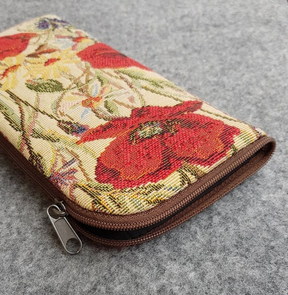 Red Poppy Flower Fabric Case for iPhone 11 Pro Max XS X XR 8 7 6 Plus Mini Bag. Sleeve Cover Wallet with Zipper.