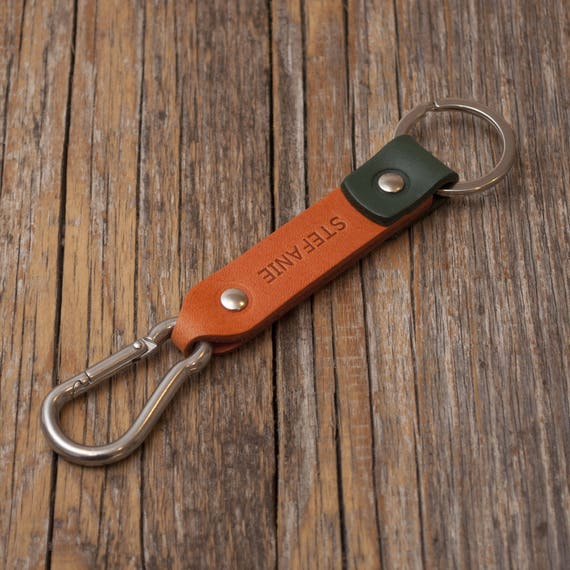 Orange and green leather key chain, stainless steel carbine hook, custom text, initials ring, monogrammed key chain, boyfriend fob holder