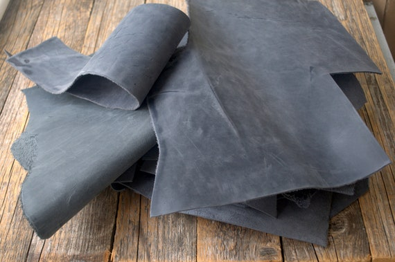 Grey Calf Hide Leather Scraps, 1,8 kg Bag Of Pieces. Crazy Horse Leather Sheets for Arts and Crafts. 2,0 mm - 2.2 mm thick.