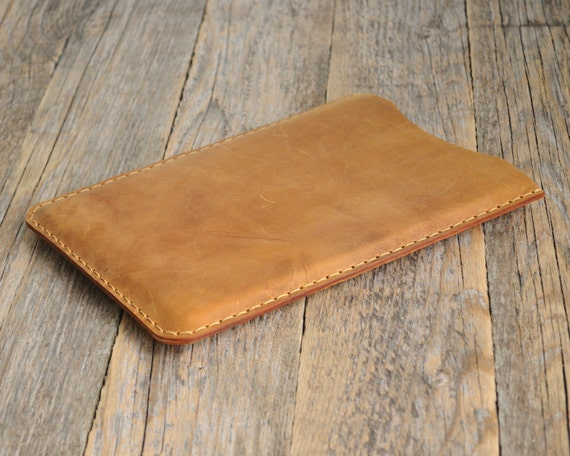 iPad Pro / Air 2 Case. Tan Brown Waxed Genuine Leather Sleeve Cover. Raw Style Handmade Pouch.