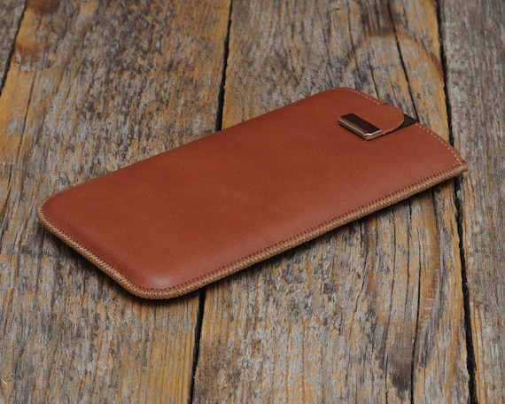 Brown Italian Leather Case for iPhone 12 Pro 11 XR, Cover with Magnetic Pull Band, Slip Protective Pouch Soft Lined Sleeve