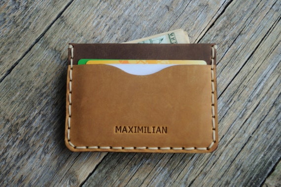 Light Brown Leather Wallet. PERSONALIZED Brown Detail Inside Cover. Credit Card Cash or ID Holder. Rustic Style Unisex Pouch.