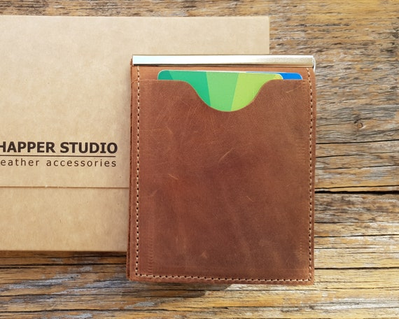 Thin wallet for minimalists unisex tan brown leather bi-fold, credit card cash banknote holder.