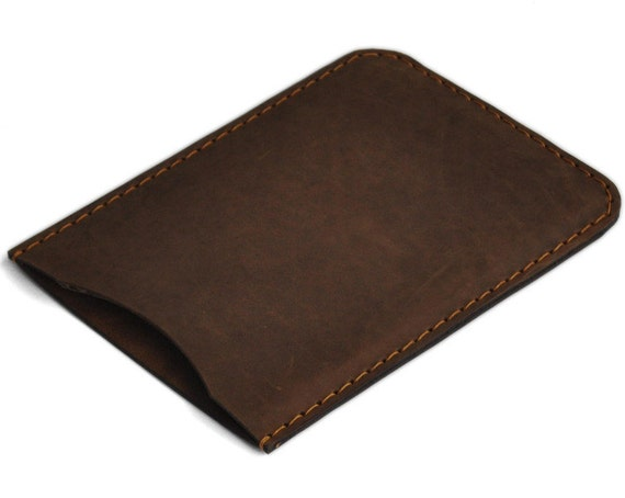 iPad mini 2, mini 3 Case. Brown Waxed Genuine Leather Sleeve. Raw Style Pouch.