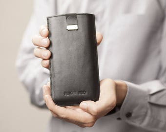 Black Italian Leather Case for Google Pixel, Free Personalisation, Sleeve Cover with Magnetic Pull Band