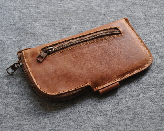 Organizer Pencil Pouch Case. Genuine Leather Travel Mini Messenger Bag with Zippers and Pockets.