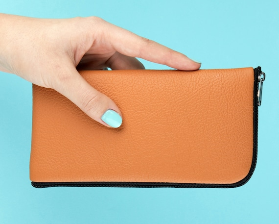Orange Italian Leather Case for Nokia - Lined and Padded Wallet - Cover Purse with Zipper.