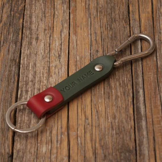 Green and red leather key chain, stainless steel carbine hook, custom text, initials ring, monogrammed key chain, boyfriend fob holder