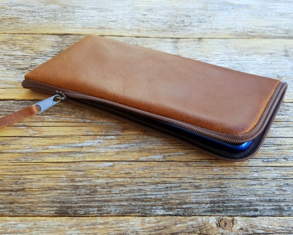 Italian Leather Cover for OnePlus 7T 7 Pro 5G 6T 6. Brown Case Wallet Purse with Zipper