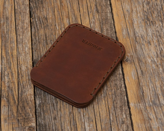 PERSONALIZED Simplistic Dark Brown Leather Wallet. Unisex Pouch. Credit Card Cash or ID Holder. Handmade and Hand Sewn Item.