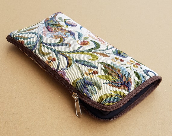 Upholstery Fabric Case for iPhone 11 Pro Max XR XS X 8 7 6 Plus Cover. Wallet with Garden Birds. Zipper Pouch Sleeve.