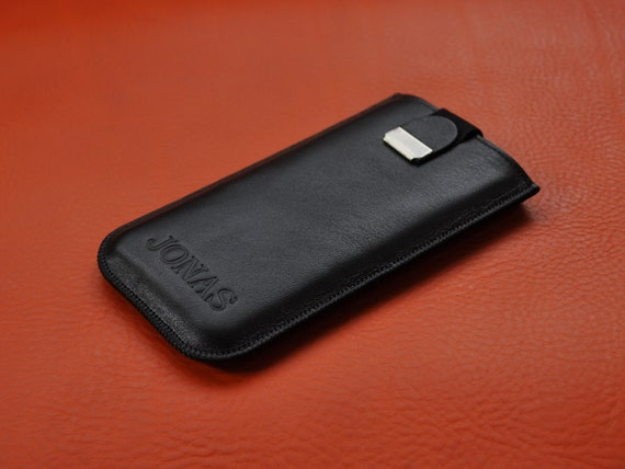 Italian Leather Case for iPhone, Lined Pouch with Magnetic Pull Band, FREE personalisation