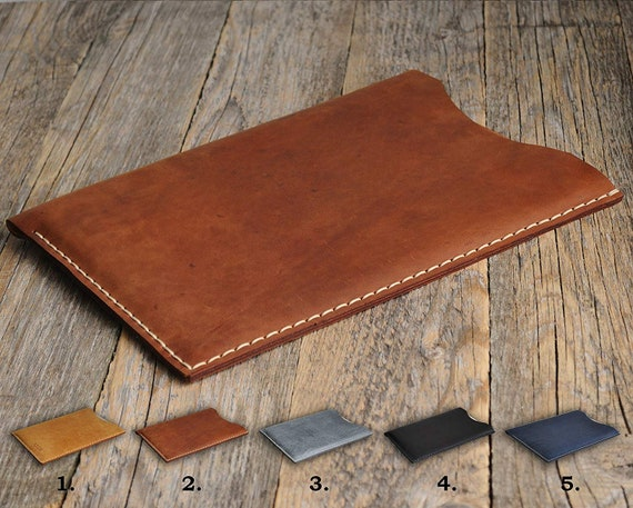 "Microsoft Surface Pro, Laptop, Book 2 13.5"" 15"" Case Handmade PERSONALIZED, Aged Natural Leather Cover. Rough Vintage Style Sleeve Pouch."