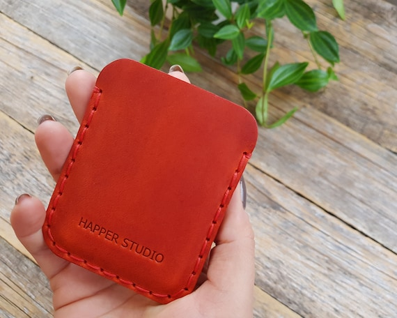 Coral Red Leather Wallet, Slim Unisex Pouch, Credit Card or ID Holder, Gift Couples Ideas, Personalised Bridesmaid Gift