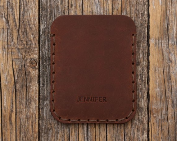 PERSONALIZED Simplistic Dark Brown Leather Wallet, Unisex Pouch, Credit Card Cash or ID Holder, Handmade and Hand Sewn Item