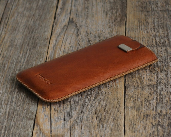 PERSONALIZED iPhone X, 8 Plus, 7 Plus, 6 / 6s Plus, SE,  5 / 5s, 4 / 4s Cover with Magnetic Flap. Genuine Brown Leather Sleeve Case.