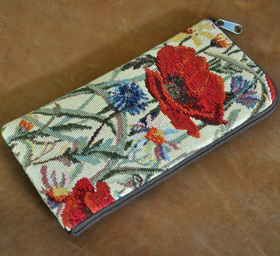 Red Poppy Flower Case for iPhone, SE 2020 11 Pro Max XS X XR 8 7 Plus, Women Wallet with Zipper, Purse Sleeve Cover Pouch