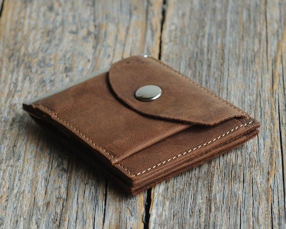 Bi-fold leather wallet, dark brown thin credit card cash holder