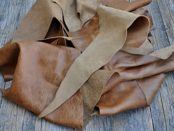 Italian Cowhide Leather Pieces for Arts and Crafts, Tan Cognac Calf Hide Sheets, Brown Upholstery, 1,8 kg Bag Of Scrap