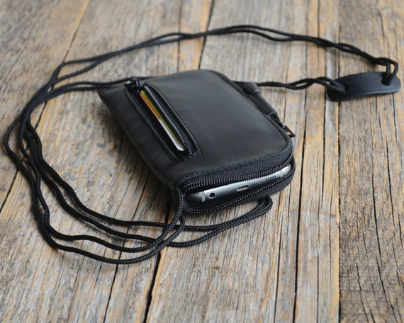 Leather Mini Messenger Bag for iPhone, Organizer Case with Zippers and Pockets, Cover with Neck Strap