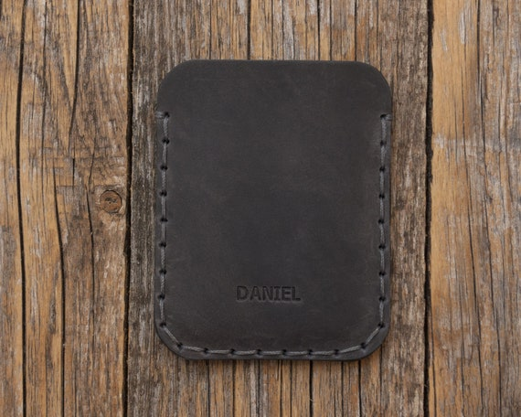 FREE PERSONALIZED Simplistic Leather Wallet. Unisex Pouch. Credit Card Cash or ID Holder. Handmade and Hand Sewn Item.