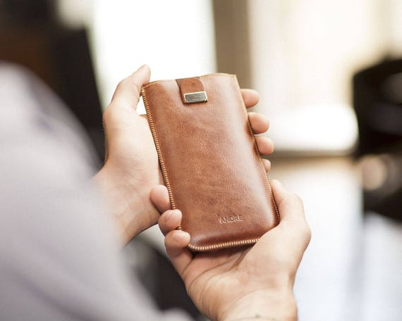 OnePlus 6T, 6, 5T, 5, 3T, 3 Case with Magnetic Flap. PERSONALIZED! Add Your Name Genuine Brown Leather Sleeve Cover Handmade Pouch. Plus