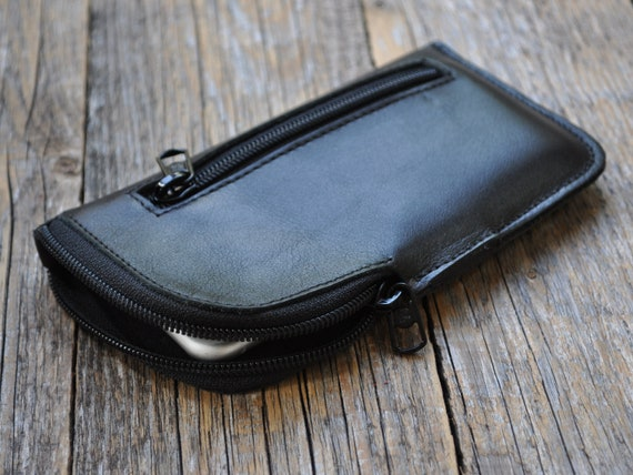 Black Leather Case for iPhone, 12 Mini SE2 8 7 6 5, Sleeve Organizer with Zipper and Pocket, Pouche Purse Cover