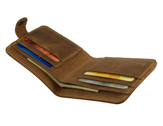Leather wallet unisex credit card purse brown
