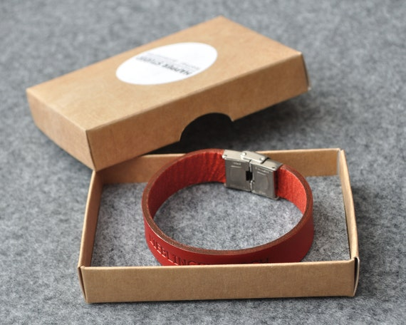 Italian red leather personalized bracelet, vegetable tanned, engrave phrase, initials or word