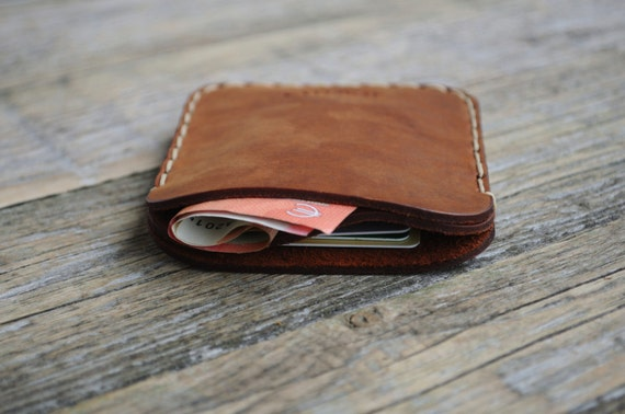 PERSONALIZED Simplistic Brown Leather Wallet. Unisex Pouch. Credit Card Cash or ID Holder. Handmade and Hand Sewn Item.